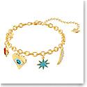 Swarovski Jewelry, Lucky Goddess Bracelet Charms Multi Colored Gold Medium