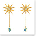 Swarovski Jewelry, Lucky Goddess Pierced Earrings Long Multi Colored Gold