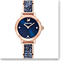 Swarovski Cosmic Rock Watch, Metal bracelet, Blue, Rose Gold PVD