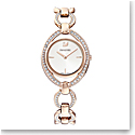 Swarovski Stella Watch, Metal bracelet, White, Rose Gold