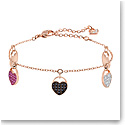 Swarovski Jewelry, Ginger Bracelet Heart Multi-Color Rose Gold Medium