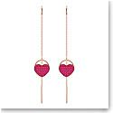 Swarovski Jewelry, Ginger Pierced Earrings Heart Fuchsia Rose Gold