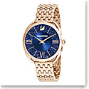 Swarovski Crystalline Glam Watch, Metal Bracelet, Blue, Rose Gold