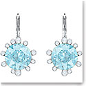 Swarovski Jewelry, Olive Pierced Earrings Drop Round Aqua Rhodium Silver