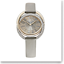 Swarovski Duo Watch, Leather Strap, Gray, Champagne-gold tone