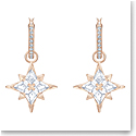 Swarovski Symbolic Star Hoop Pierced Earrings, White, Rose Gold