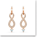 Swarovski Infinity Pierced Earrings Crystal Rose Gold