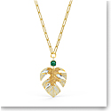 Swarovski Necklace Tropical Pendant Leaf Light Multi Gold
