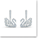 Swarovski Dancing Swan Pierced Earrings Crystal Rhodium Silver