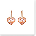 Swarovski Bella Pierced Earrings Heart Silk Rose Gold