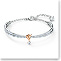 Swarovski Crystal and Rhodium Lifelong Heart Bangle Bracelet