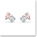 Swarovski Attract Soul Pierced Earrings Pink Crystal Rhodium Silver