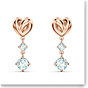 Swarovski Lifelong Heart Pierced Earrings Dangle Crystal Rose Gold