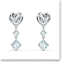 Swarovski Lifelong Heart Pierced Earrings Dangle Crystal and Rhodium Silver