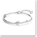 Swarovski Crystal and Rhodium Silver Lifelong Heart Bangle Bracelet