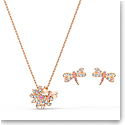 Swarovski Eternal Flower Necklace and Earring Set Dragonfly Light Multi Rose Gold
