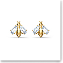 Swarovski Eternal Flower Pierced Earrings Stud Bee Light Multi Gold