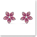 Swarovski Tropical Pierced Earrings Flower Light Multi Rhodium Silver