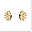 Swarovski Shell Pierced Earrings Stud Gold