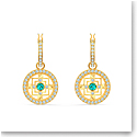 Swarovski Symbol Pierced Earrings Hoop Mandala Gold