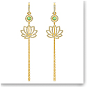 Swarovski Symbol Pierced Earrings Long Lotus Light Multi Gold