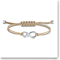 Swarovski Men's Bracelet Infinity Cord Gray Rhodium Silver M
