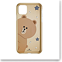 Swarovski Mobile Phone Case Line Friends iPhone 11 Pro Max Case Multi Brown