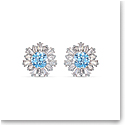 Swarovski Sunshine Pierced Earrings Stud Crystal Light Blue and Rhodium Silver
