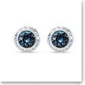 Swarovski Angelic Pierced Earrings Round Stud Mont Crystal Rhodium Silver Anniversary