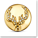 Swarovski Crystal and Gold Stag Tack Pin