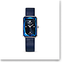 Swarovski Uptown Watch, Leather Strap, Blue, Stainless Steel