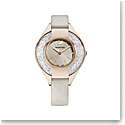Swarovski Crystalline Sporty Watch, Leather Strap, Gray, Champagne Gold Tone