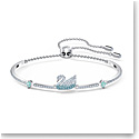 Swarovski Iconic Swan Bangle Bracelet, Blue, Rhodium Plated