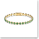 Swarovski Tennis Bracelet, Green, Gold Tone Plated