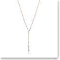 Swarovski Attract Y Necklace, White, Rose Gold Tone Plated