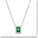 Swarovski Angelic Rectangular Necklace, Green, Rhodium Plated