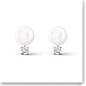 Swarovski Treasure Pearl Pierced Earrings, White, Rhodium Plated