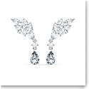 Swarovski Tennis Deluxe Cluster Mixed Pierced Earrings, White, Rhodium Plated