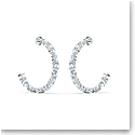 Swarovski Tennis Deluxe Mixed Hoop Pierced Earrings, White, Rhodium Plated