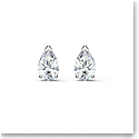 Swarovski Attract Pear Stud Pierced Earrings, White, Rhodium Plated