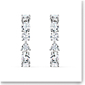 Swarovski Tennis Deluxe Mixed Pierced Earrings, White, Rhodium Plated