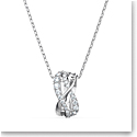 Swarovski Twist Rows Pendant Necklace, White, Rhodium Plated