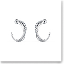Swarovski Twist Hoop Pierced Earrings, White, Rhodium Plated