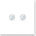 Swarovski Tennis Stud Pierced Earrings, White, Rhodium Plated