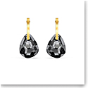 Swarovski T Bar Pierced Earrings, Gray, Gold Tone Plated