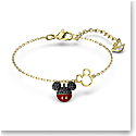 Swarovski Disney Mickey Bracelet, Black, Gold Tone Plated