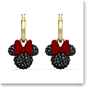 Swarovski Disney Minnie Hoop Pierced Earrings, Black, Gold Tone Plated