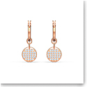 Swarovski Ginger Mini Hoop Pierced Earrings, White, Rose Gold Tone Plated