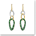 Swarovski The Elements Pierced Long Earrings, Green, Mixed Metal Finish