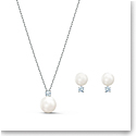 Swarovski Treasure Pearl Necklace and Earrings Set, White, Rhodium Plated